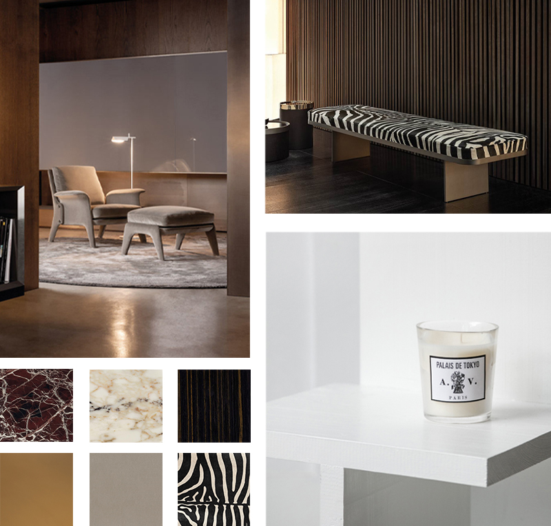 Minotti Glover Armchair and Ottoman and Clive Bench